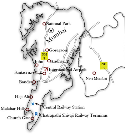 Mumbai Map showing major area