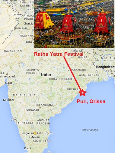 Puri Ratha Yatra on Map