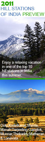 India Map showing Hill Stations in India - Ooty, Shimla, Munnar, Thekaddy, Kodaikanal, Gangtok